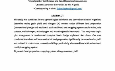Land preparation and maize-based multiple cropping on nitrogen content in two agroecologies