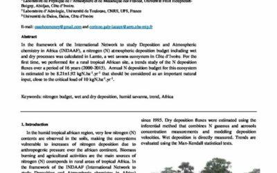 Atmospheric nitrogen deposition budget in the wet savanna of LAMTO in Côte d'Ivoire