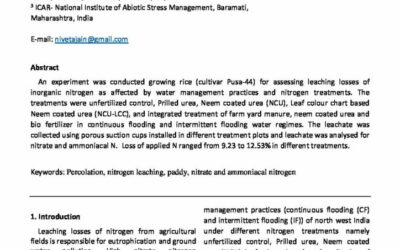 Nitrogen leaching from paddy field with different nitrogen and water management practices