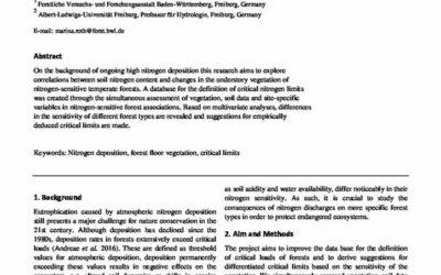 Critical Nitrogen Loads in nitrogen-sensitive Forest Associations