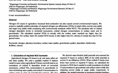 Assessment of required increases in nitrogen use efficiencies in agriculture