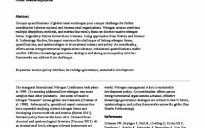 Linking Nitrogen Forms, Quantifications, and Epistemologies: A Science-Policy Interface Issue
