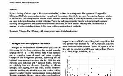 The challenge to improve nitrogen-use efficiency in broadacre dryland farming of Western Australia