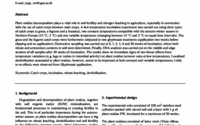 Effects from plant type and glyphosate application on mineralization of nitrogen from catch crops