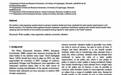 Willingness to pay for improvements in surface water quality in Northern Europe