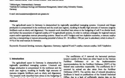 P budget calculations of German farmland and resulting manure surpluses in livestock hotspot regions