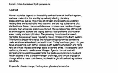 Nitrogen: of planetary importance for Earth resilience