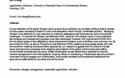 Managing Nitrogen for sustainable agriculture production