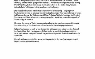 Fritz Haber (1868-1934): Life, Work, and Legacy