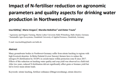 Impact of N-fertiliser reduction on agronomic parameters and quality aspects for drinking water production