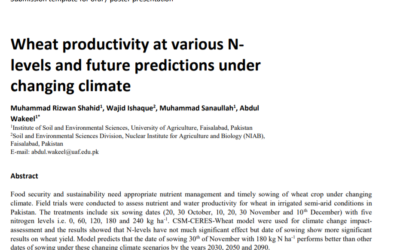 Wheat productivity at various Nlevels and future predictions under changing climate