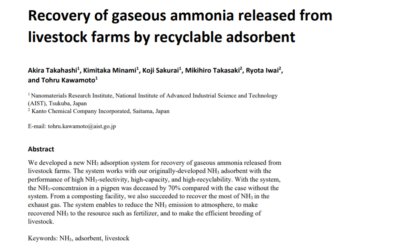 Recovery of gaseous ammonia released from livestock farms by recyclable adsorbent