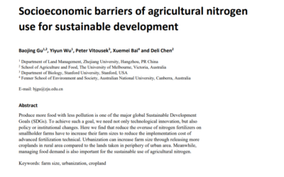 Socioeconomic barriers of agricultural nitrogen use for sustainable development